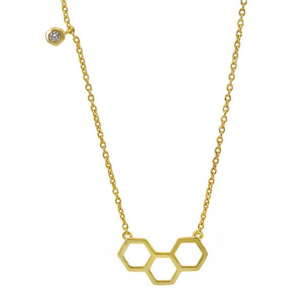 Sterling Silver Vermeil Honeycomb CZ Necklace