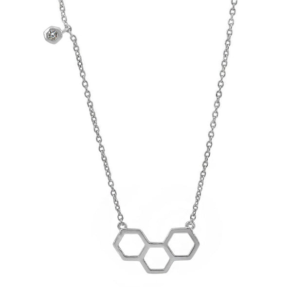 Sterling Silver Honeycomb CZ Necklace
