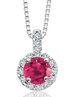 Ruby and Diamond Halo Design Necklace