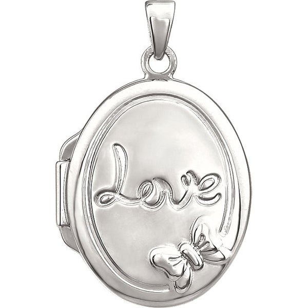 "Sterling Silver Oval ""Love"" Locket"