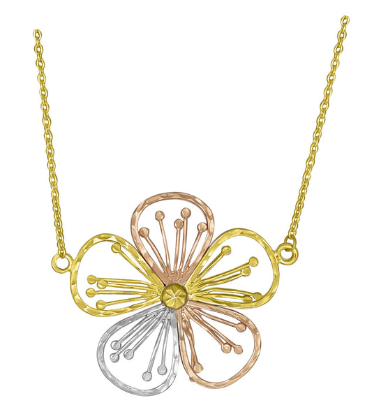 10K Tri-Colour Gold Flower Neckalce