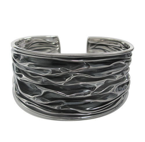 Sterling Silver Wrinkle Design Cuff Bangle