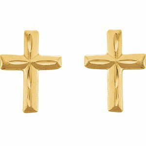 14K Yellow Cross Earrings - Youths