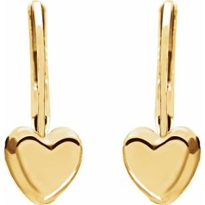 14K Yellow Heart Lever Back Earrings - Youths