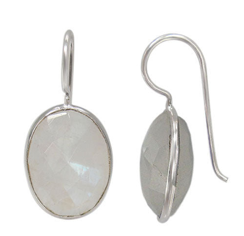 Sterling Silver, oval shape faceted stone earring