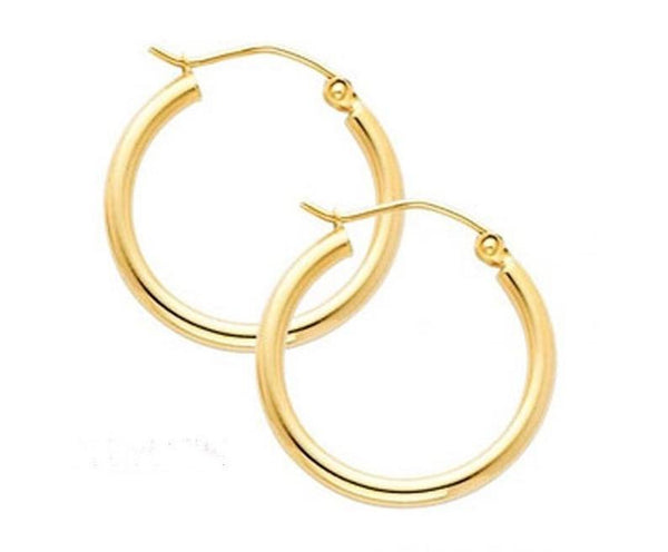 10k yellow gold 2mm tube hoop earrings - 34mm