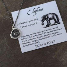 Load image into Gallery viewer, Elephant Wax Seal Necklace - I trust in myself- Trust Your Strength