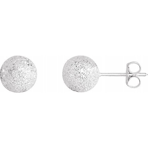 Sterling Silver 8 mm Stardust Ball Earrings