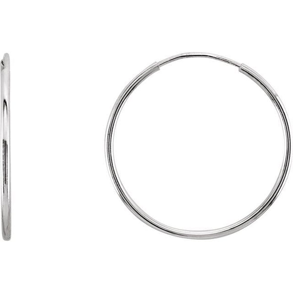 10k White Gold Sleeper Hoop Earrings