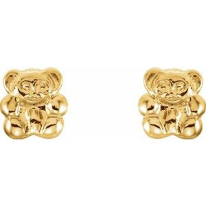 14K Yellow Teddy Bear Earrings - Youths