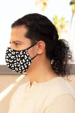 Black Cheetah w/ White Spots Face Mask - pacorogiene