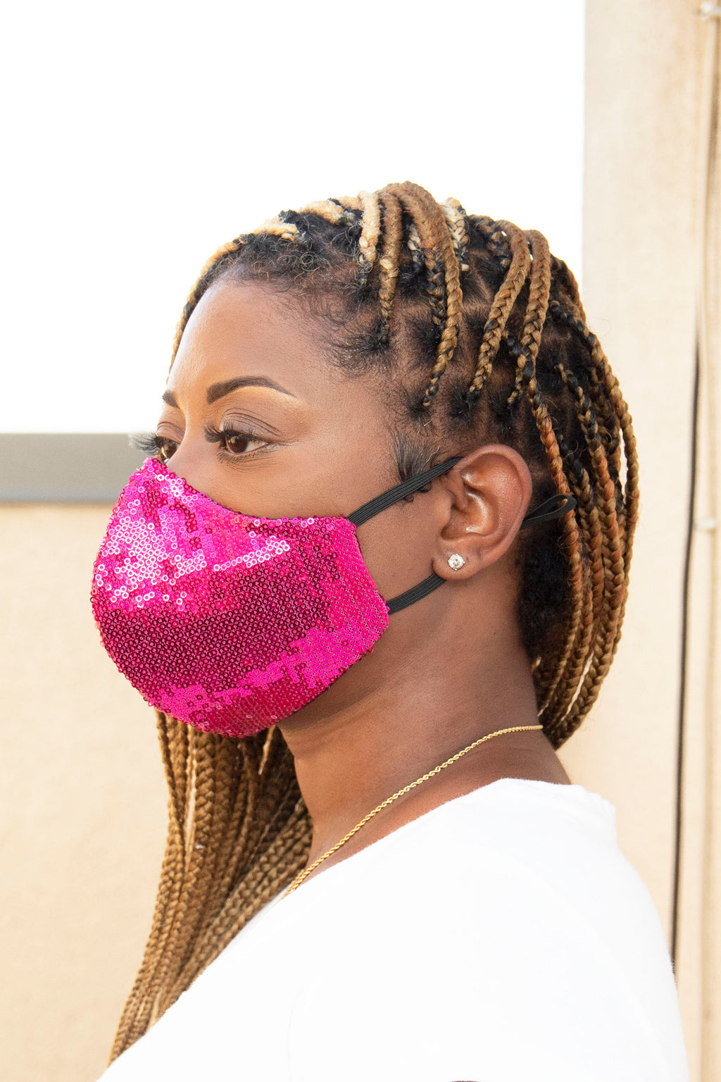 Sequin Face Mask (Fuchsia Pink) - pacorogiene