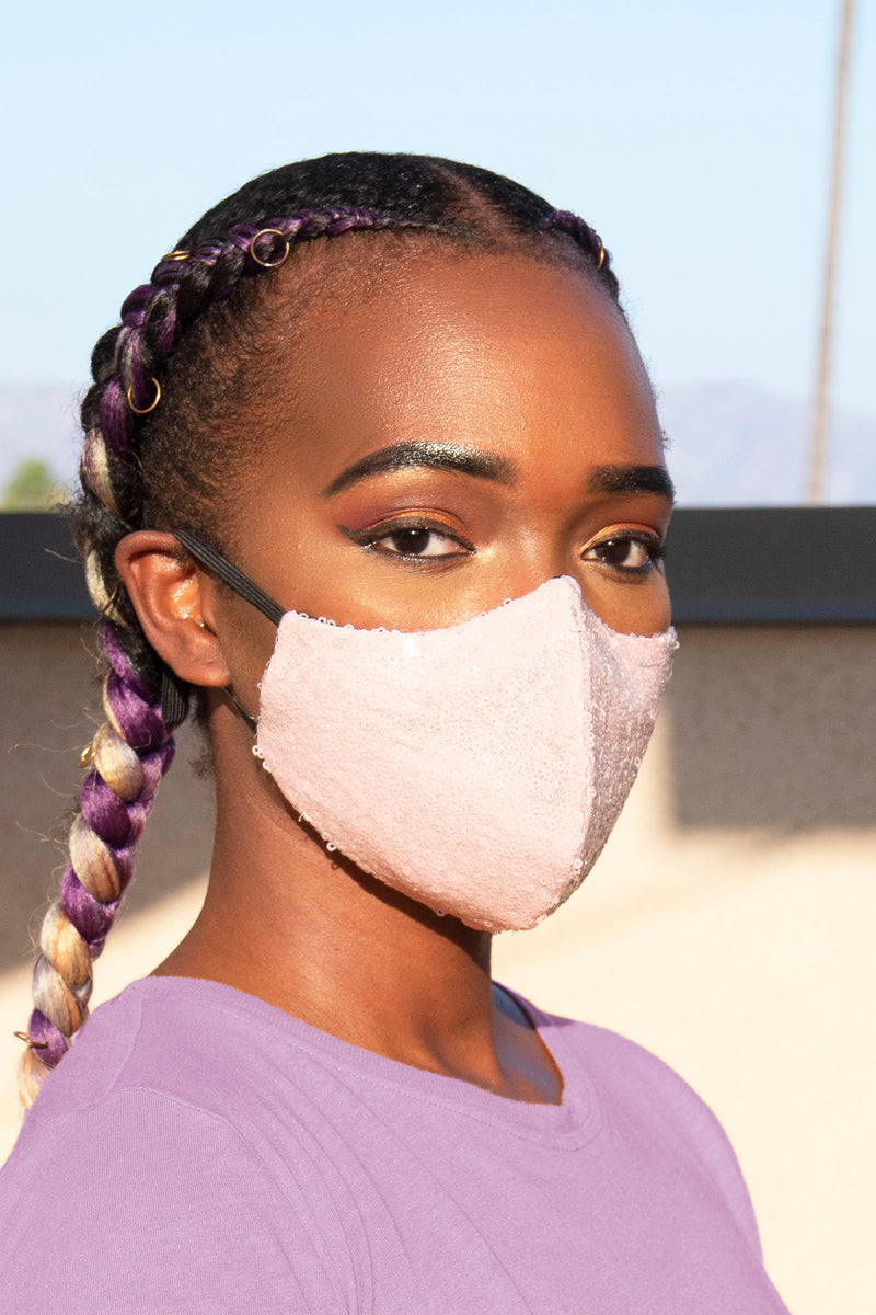 Sequin Face Mask (Soft Pink) - pacorogiene