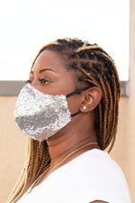 Sequin Face Mask (Silver) - pacorogiene