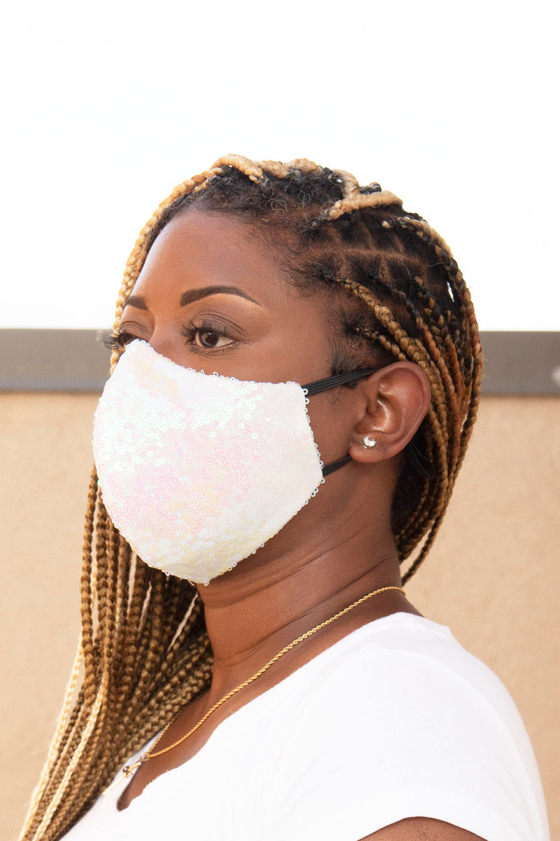 Sequin Face Mask (White Pearl) - pacorogiene