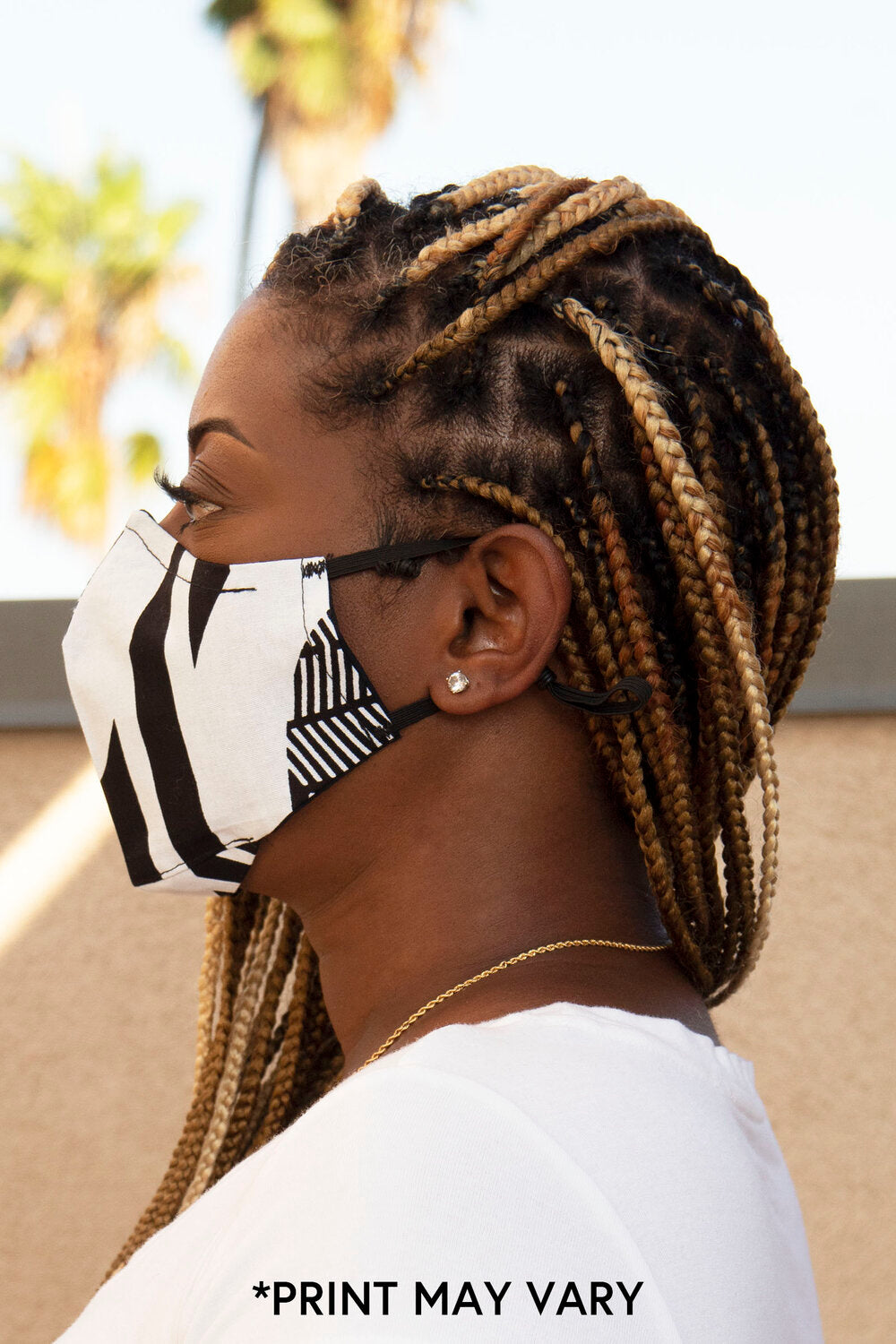 Black/White GEO Print Secure-Fit Face Mask - pacorogiene