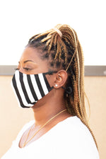 Black/White Vertical Stripe Secure-Fit Face Mask - pacorogiene