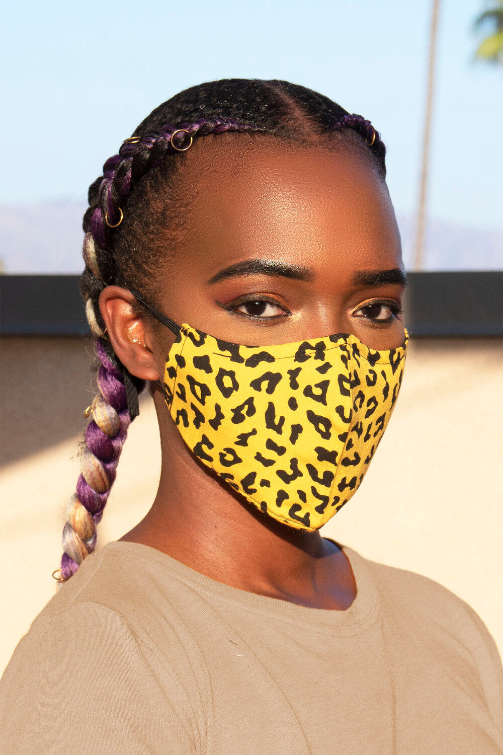 Yellow Cheetah Print Secure-Fit Face Mask - pacorogiene
