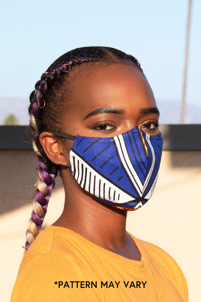 Blue Tribal Print Secure-Fit Face Mask - pacorogiene