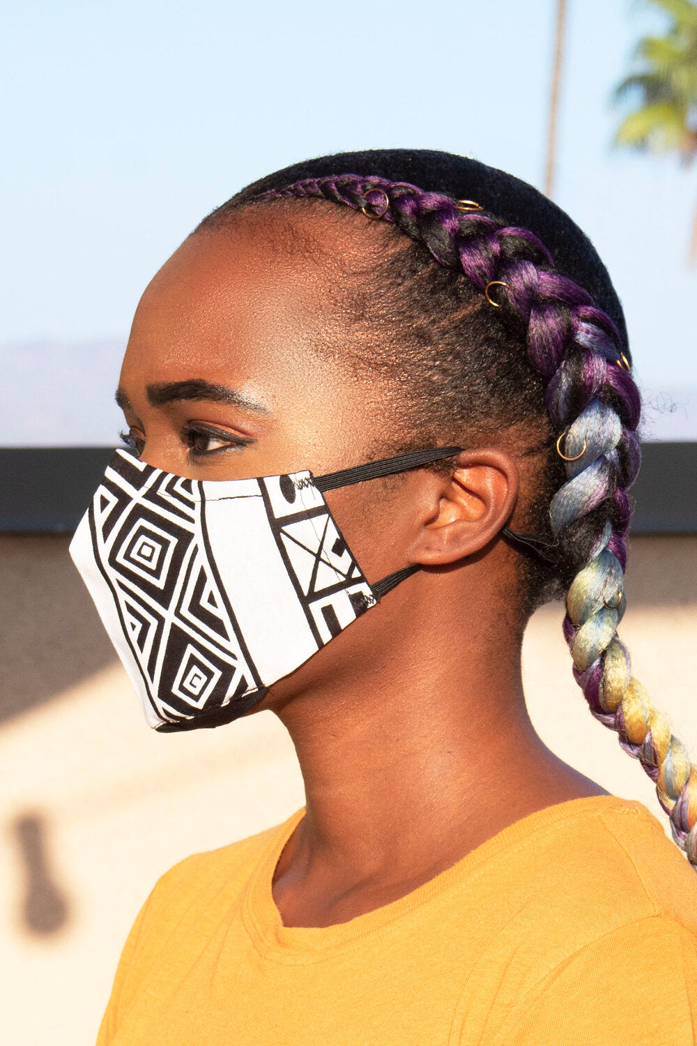 White Tribal Print Secure-Fit Face Mask - pacorogiene