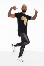 Africa Curved Hem Graphic T-Shirt (Gold) - pacorogiene