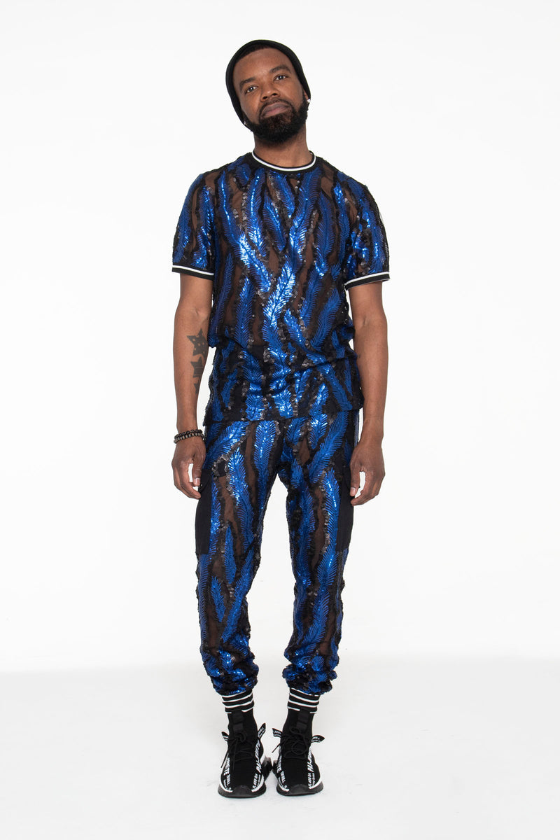 Blue and Black Sequin Castaway Joggers - pacorogiene