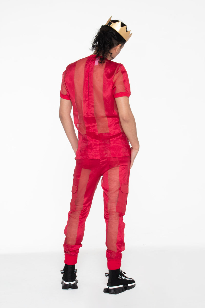 Castaway Striped Organza T-Shirt (Red) - pacorogiene