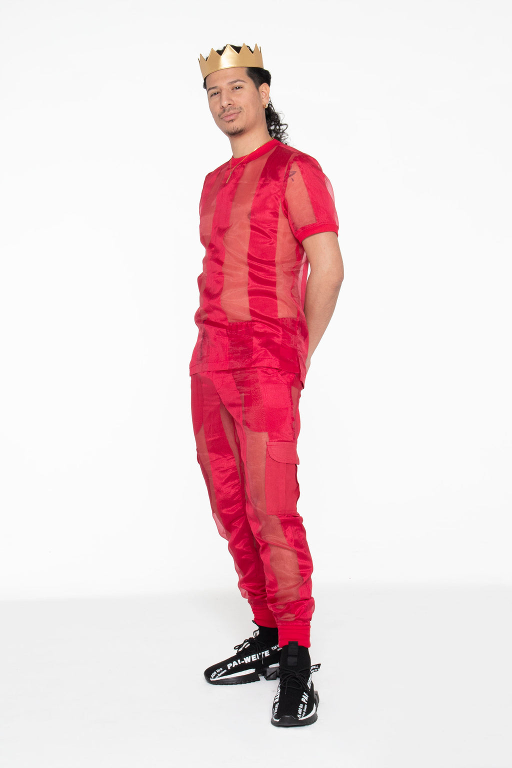 Castaway Striped Organza Joggers (Red) - pacorogiene