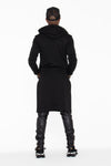 Black Hooded Kurta Sweatshirt w/ Pockets - pacorogiene