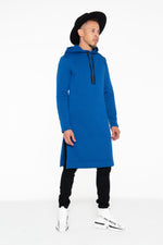 Royal Blue Hooded Kurta Sweatshirt w/ Pockets - pacorogiene