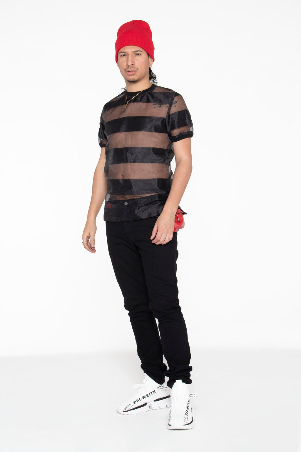 Castaway Horizontal Striped Organza T-Shirt (Black) - pacorogiene