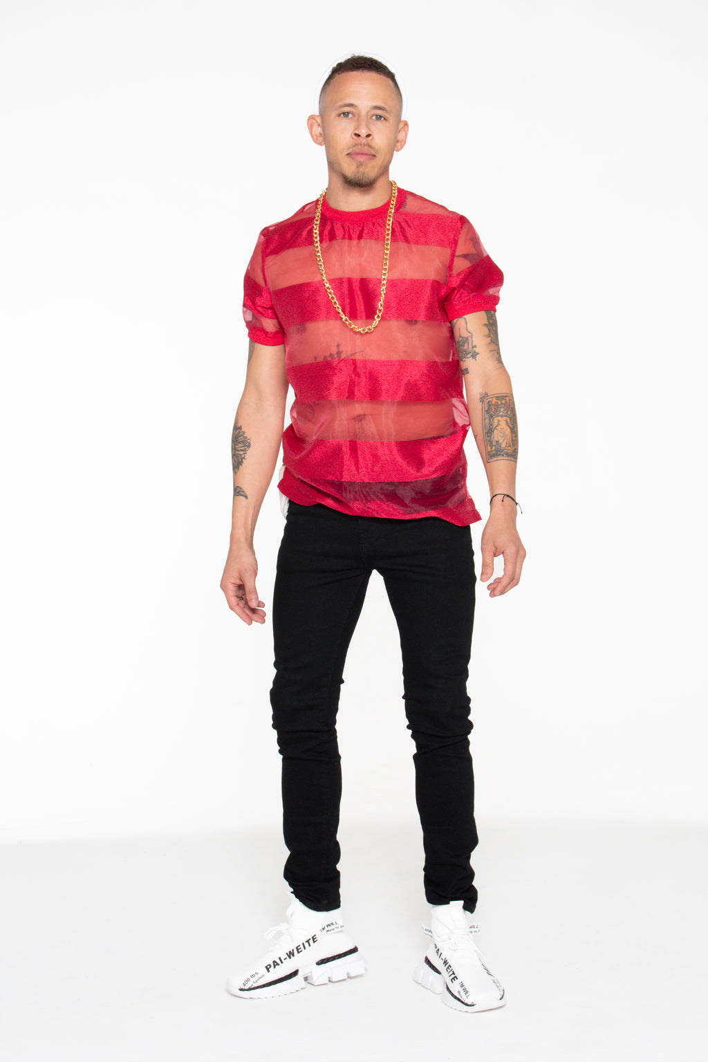 Castaway Horizontal Striped Organza T-Shirt (Red) - pacorogiene