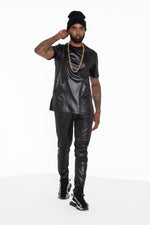 Black Illusion Leather Moto Shirt - pacorogiene