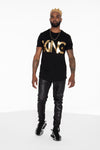 KING Curved Hem Graphic T-Shirt (Gold) - pacorogiene