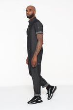 (PRE-ORDER) Black Denim Short-Sleeve Jumpsuit - pacorogiene