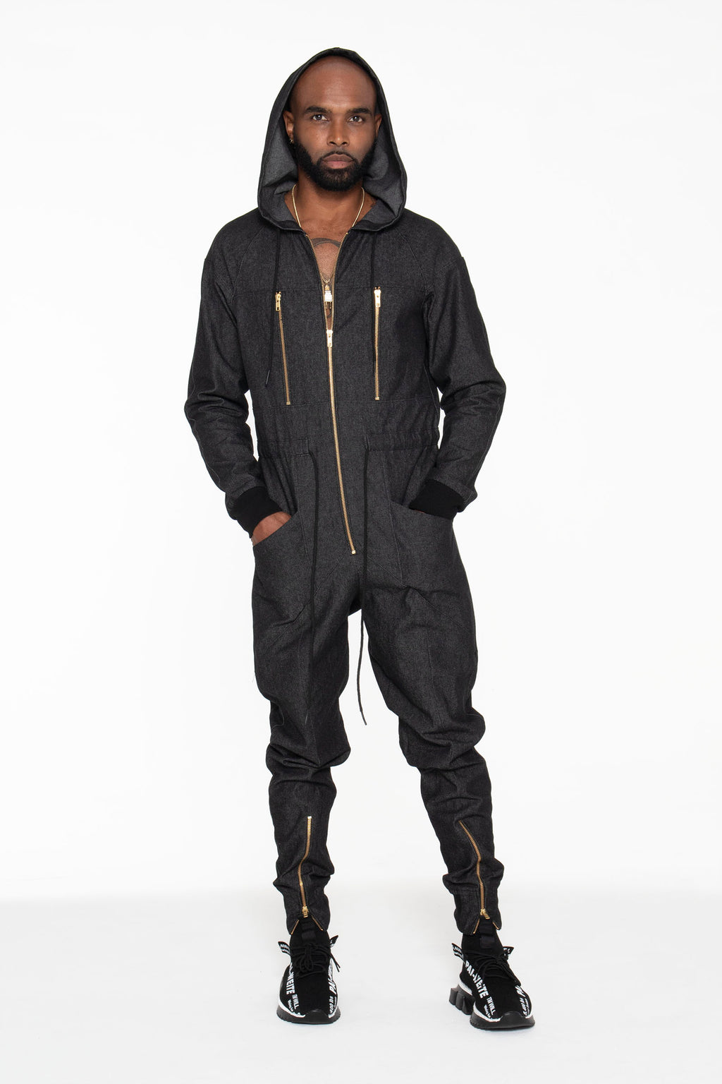 Black Denim Unisex Jumpsuit - pacorogiene