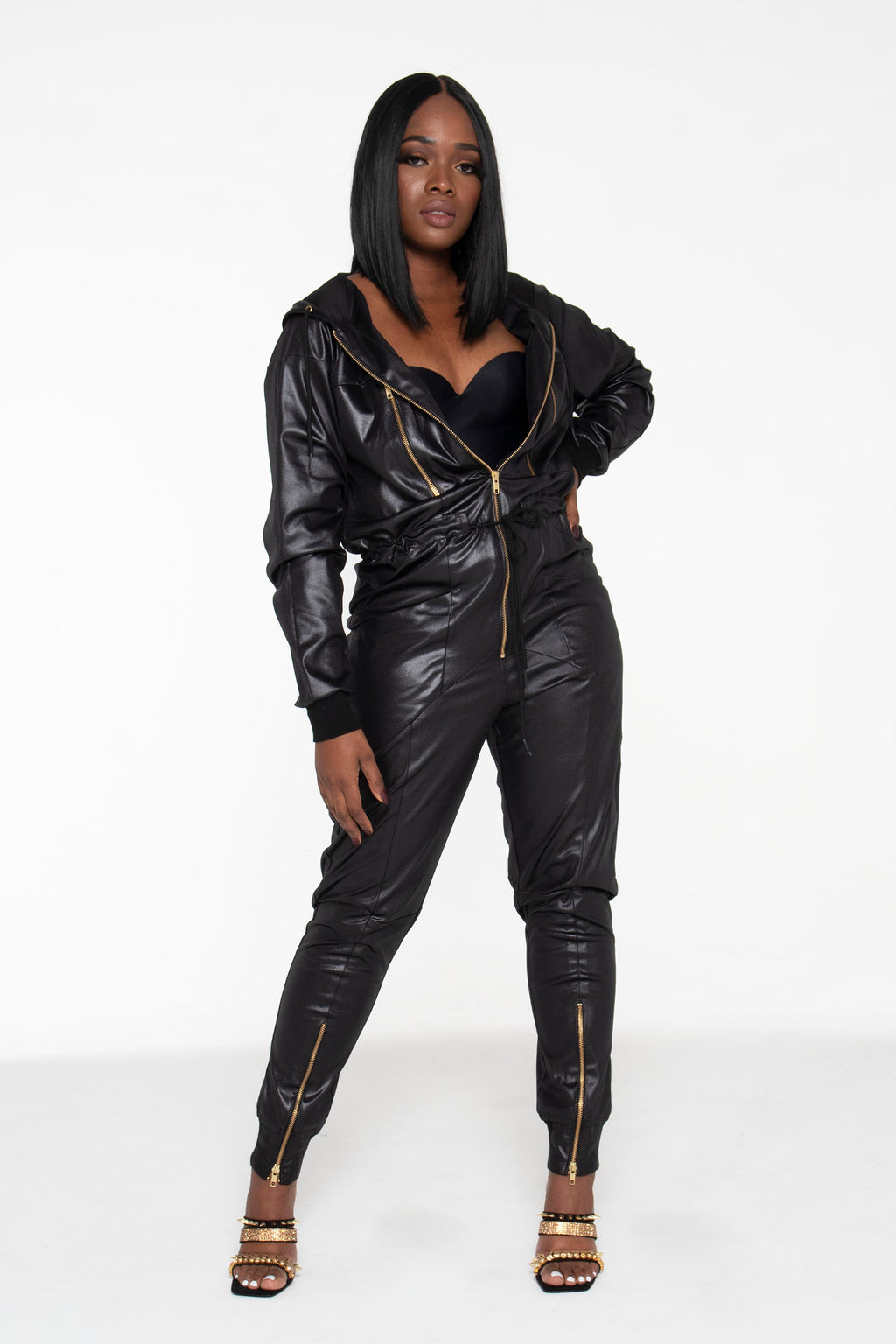 (PRE-ORDER) Black Illusion Leather Unisex Jumpsuit - pacorogiene