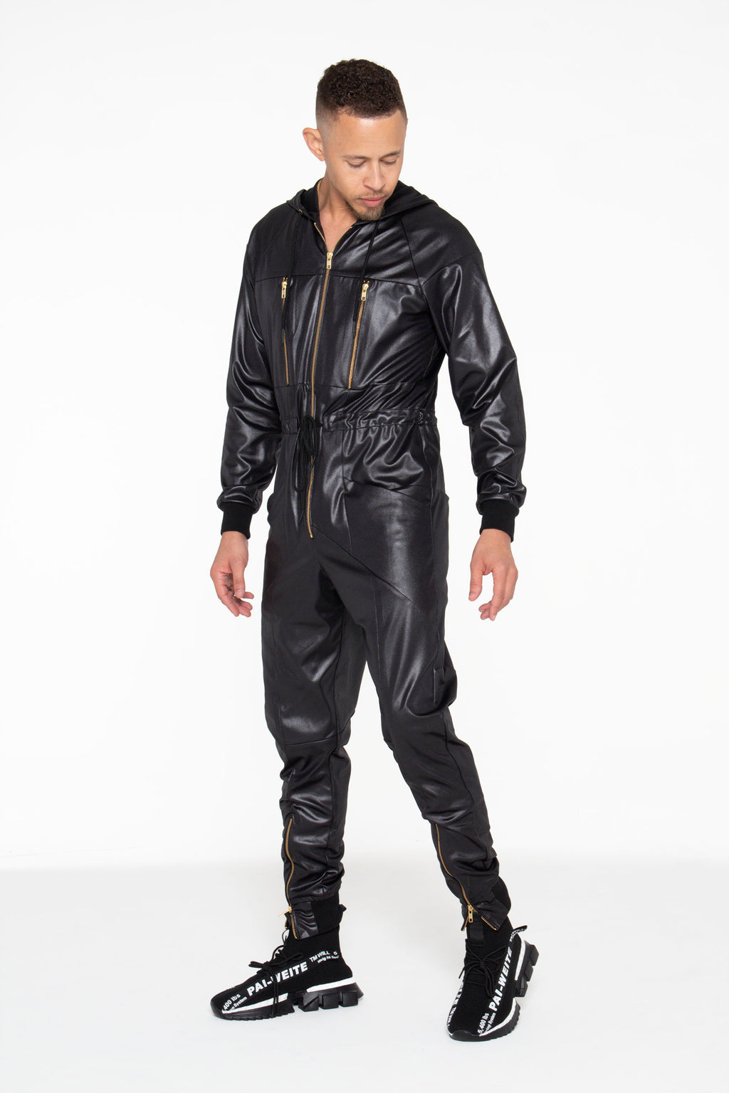 Black Illusion Leather Unisex Jumpsuit - pacorogiene