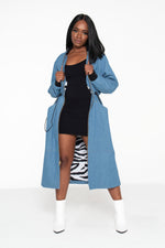 Light Blue Long Bomber Jacket- Unisex - pacorogiene