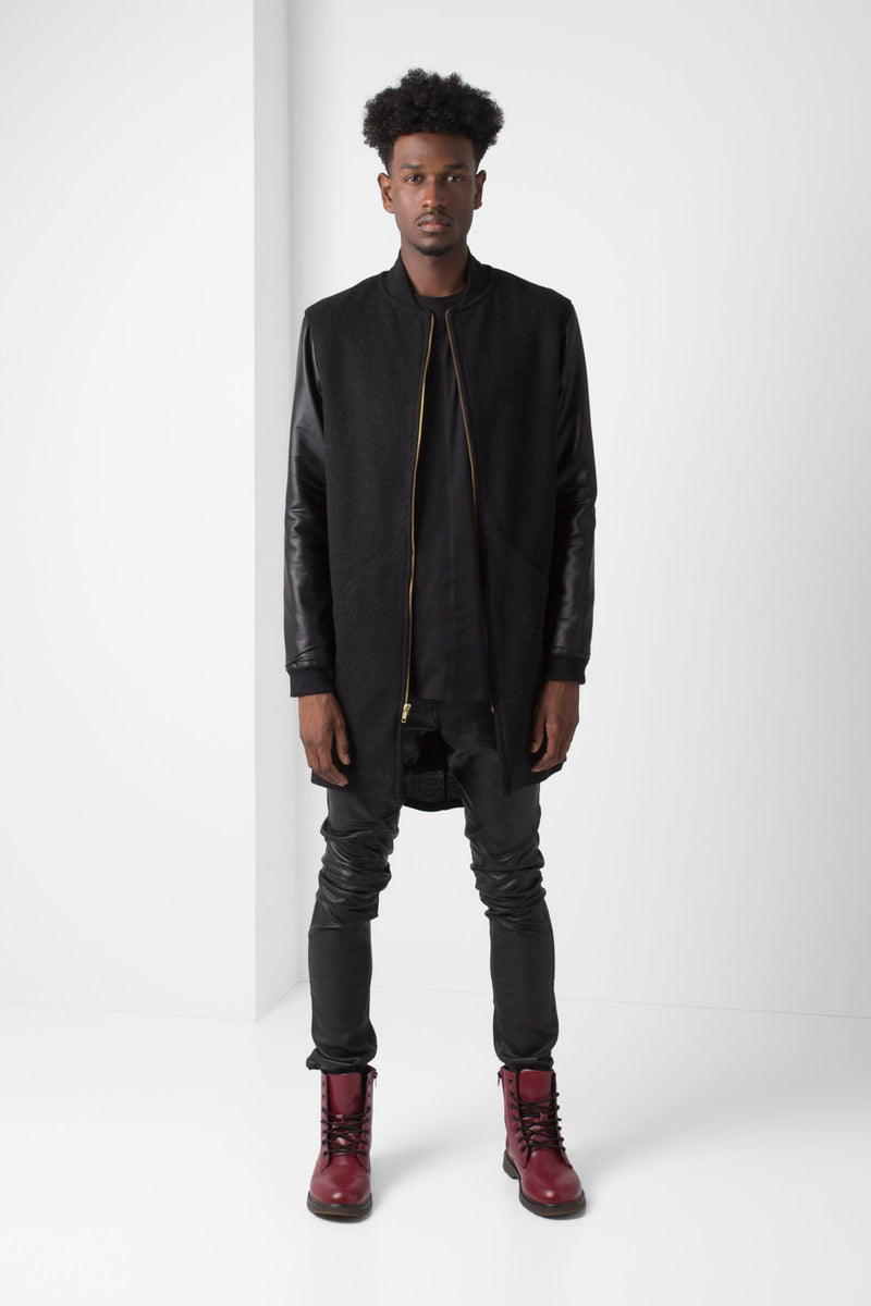 Black Wool long-line Jacket with Faux Leather Sleeves - pacorogiene