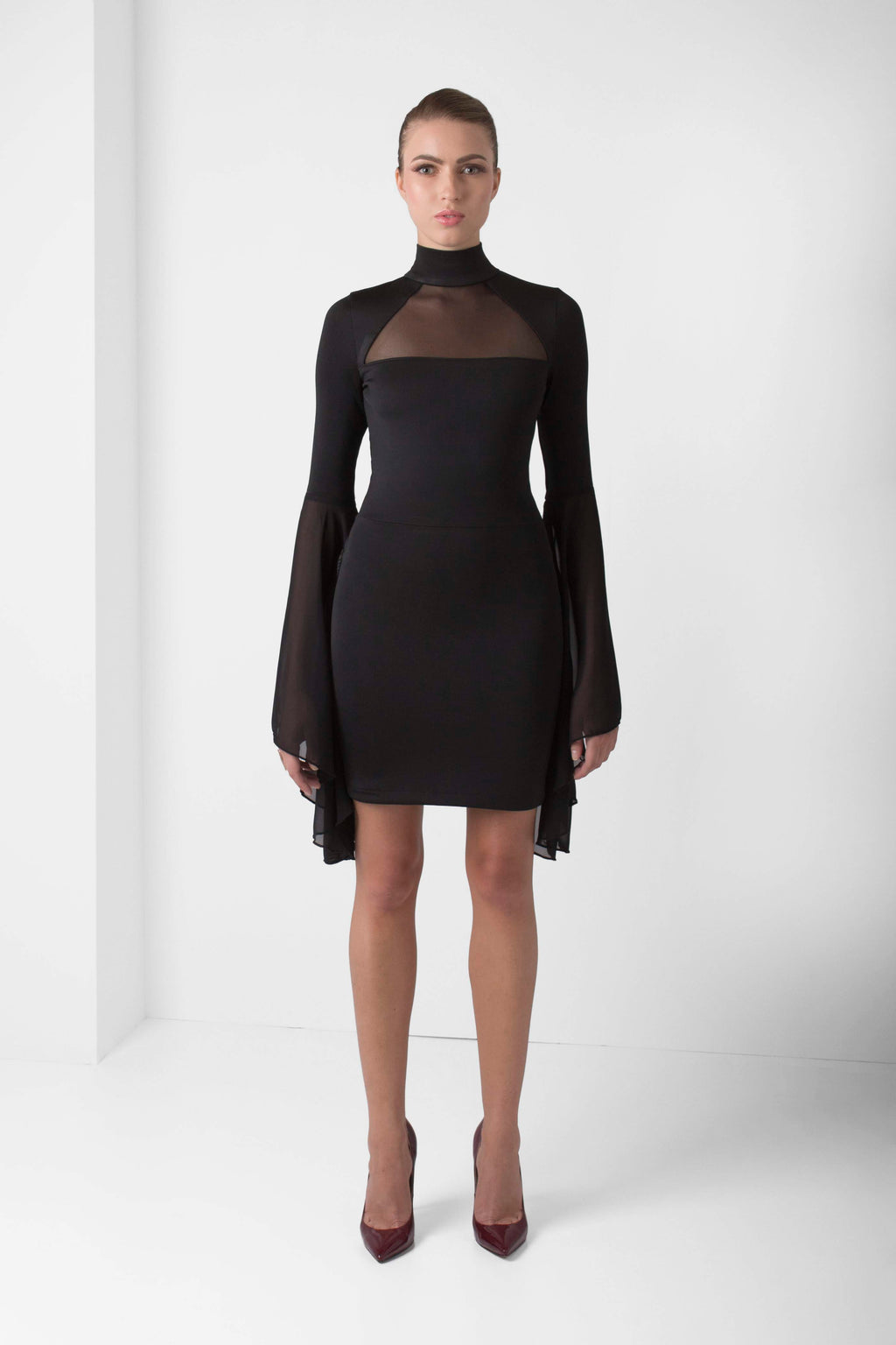 Black Bell Sleeve Mini Dress - pacorogiene