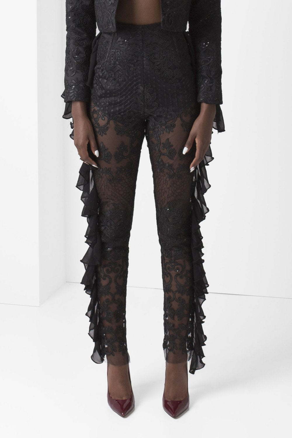 Black Unlined Embroidered Lace Pants with Chiffon Ruffle Detail - pacorogiene