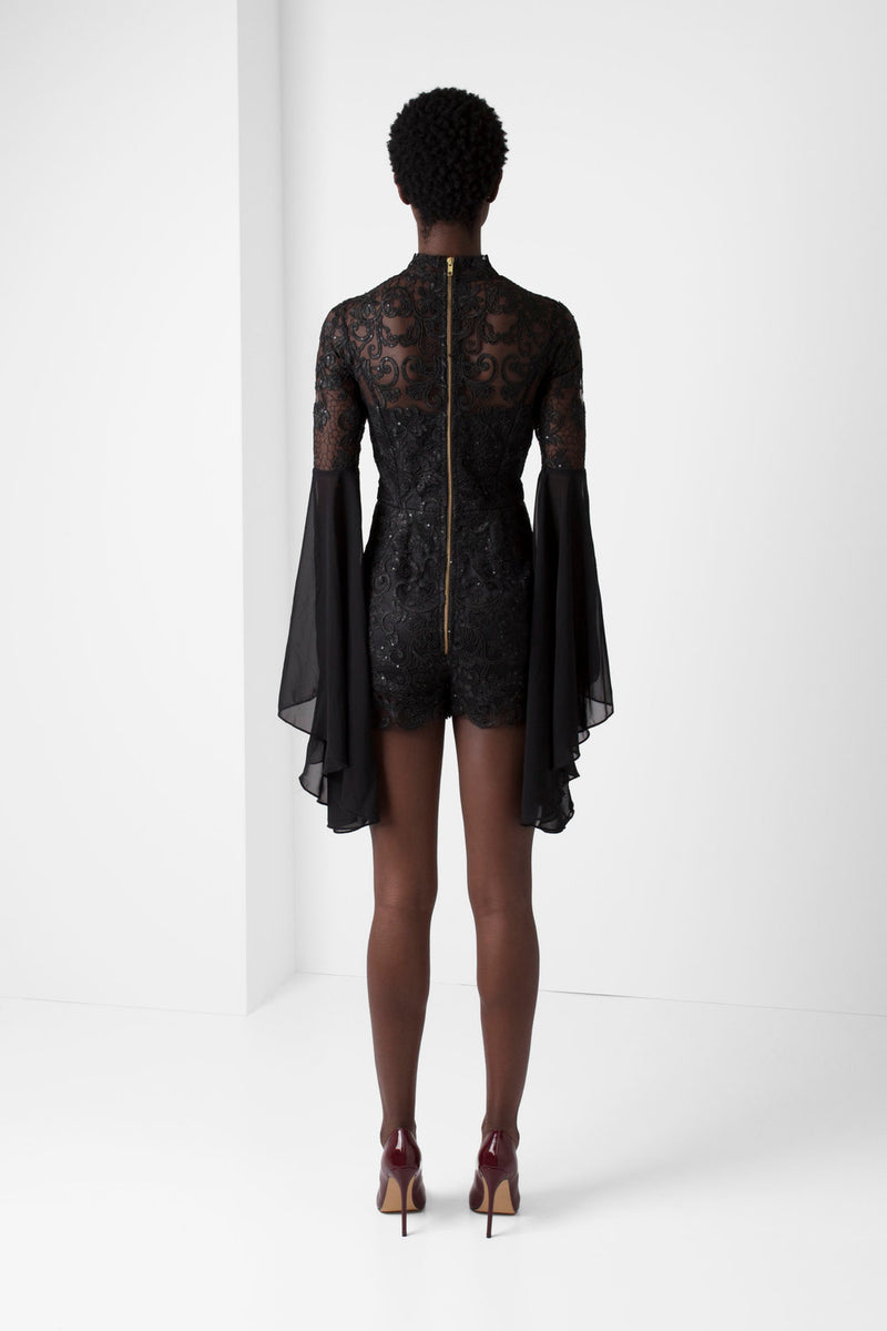 Black Embroidered Lace Romper - pacorogiene