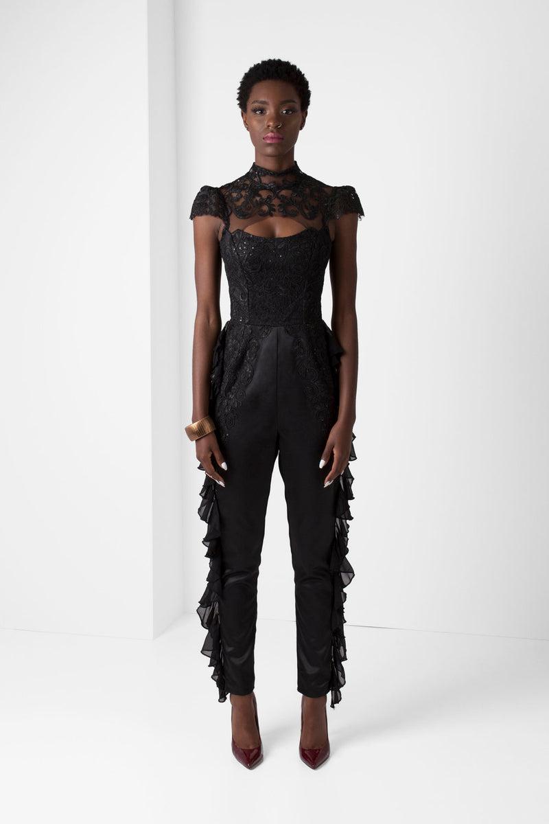 Black Embroidered Lace Jumpsuit - pacorogiene