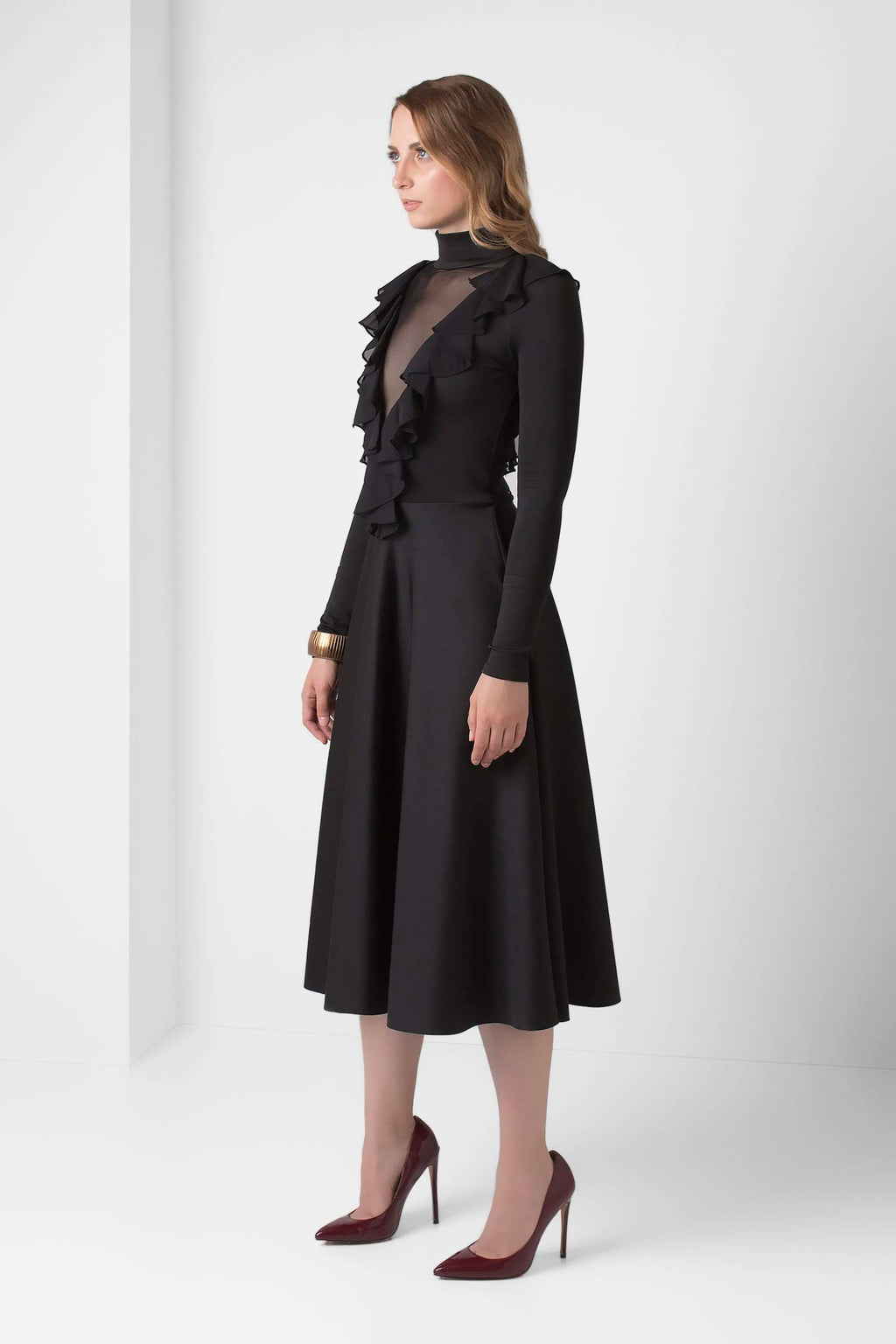 Black Long-sleeve Fit and Flare Dress - pacorogiene