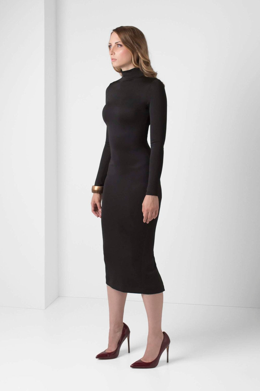 Black Long Sleeve BodyCon Pencil Dress - pacorogiene