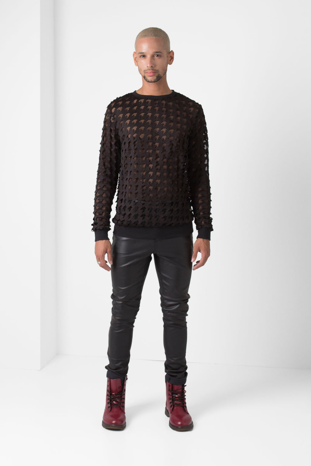 Laser-Cut Houndstooth Pullover - pacorogiene