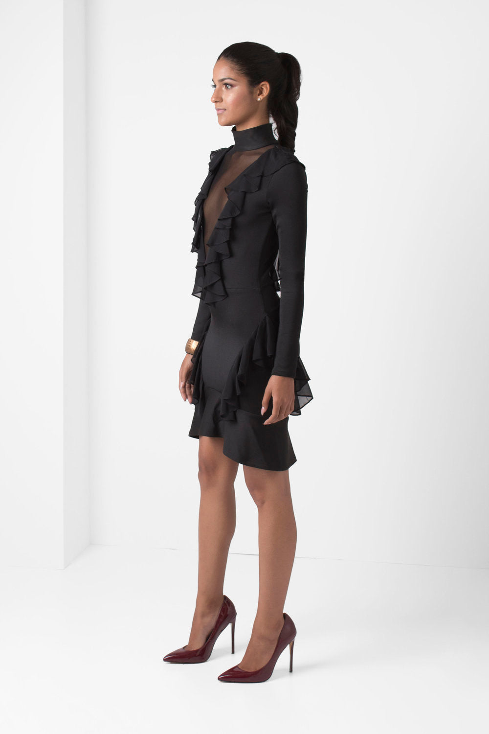 Black Long Sleeve Mini Dress Deep-V Mesh Ruffle Detail - pacorogiene