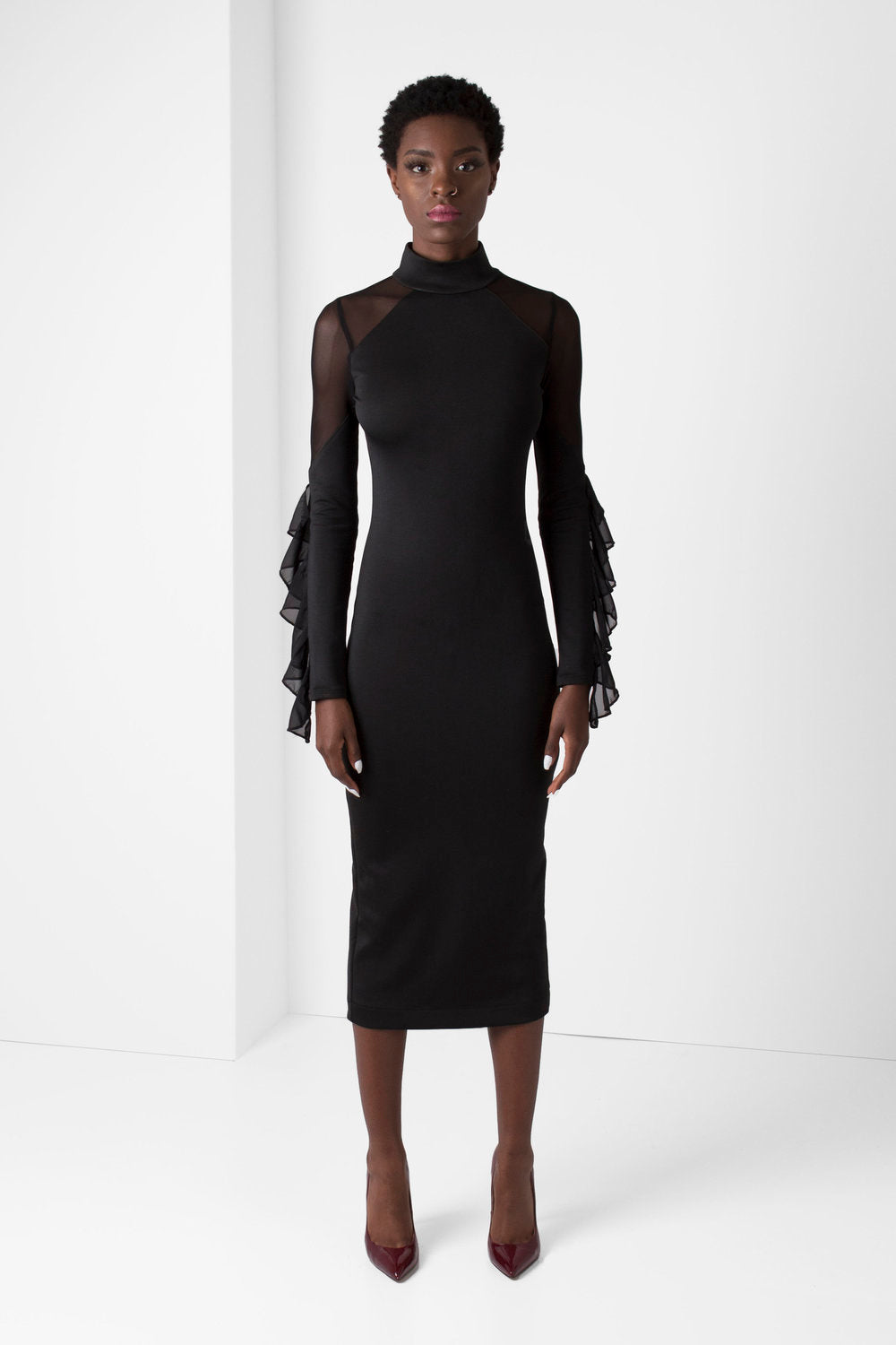 Black Long Sleeve BodyCon Pencil Dress w/ Mesh Shoulders - pacorogiene