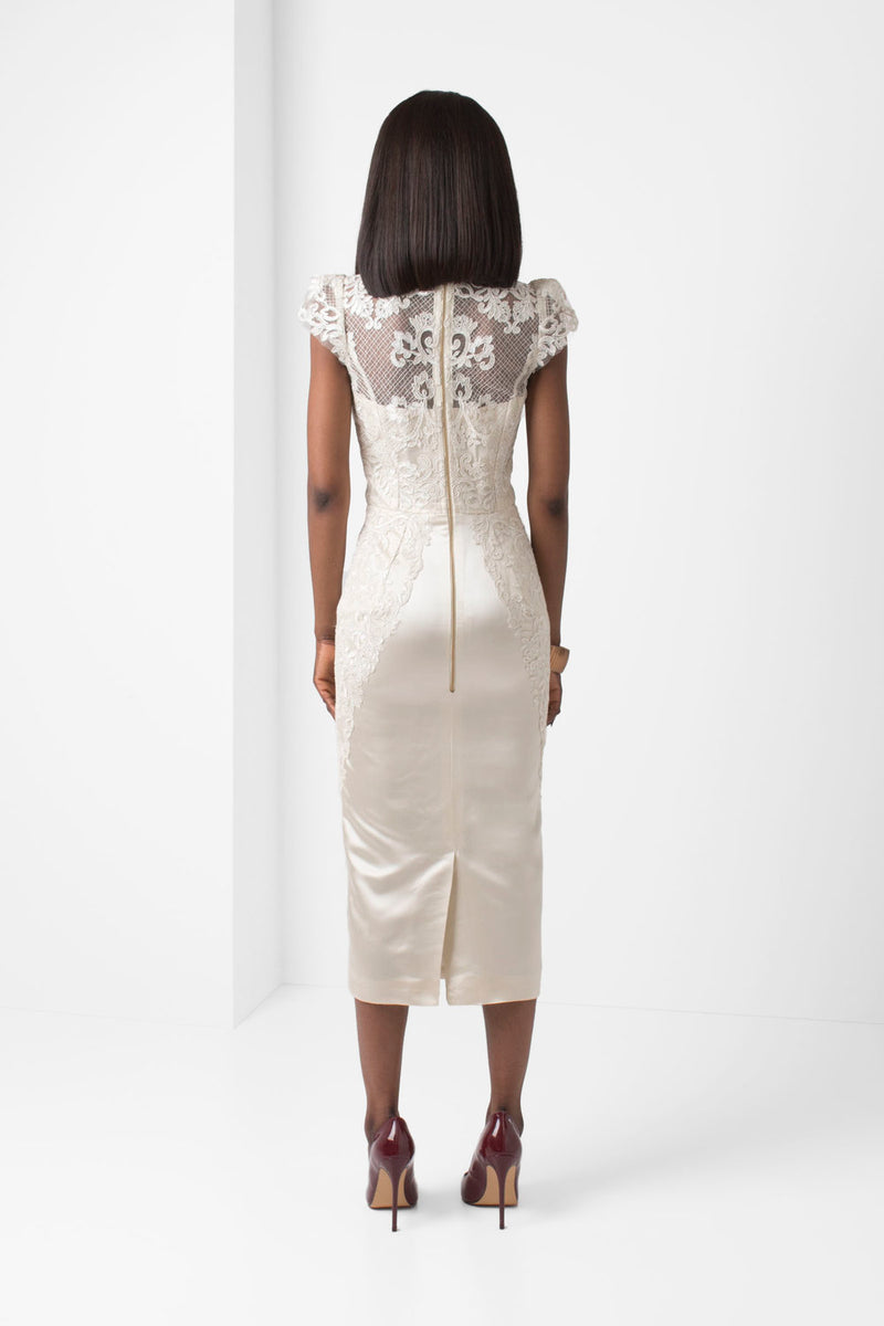 Off-White Embroidered Lace Pencil Skirt - pacorogiene